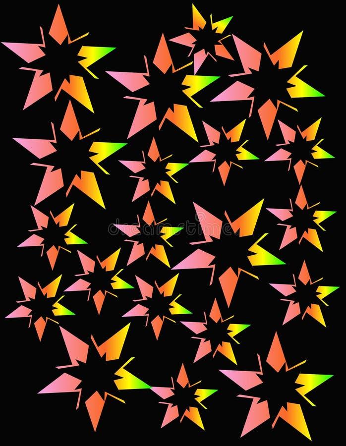 抽象设计展开的霓虹星形 库存例证