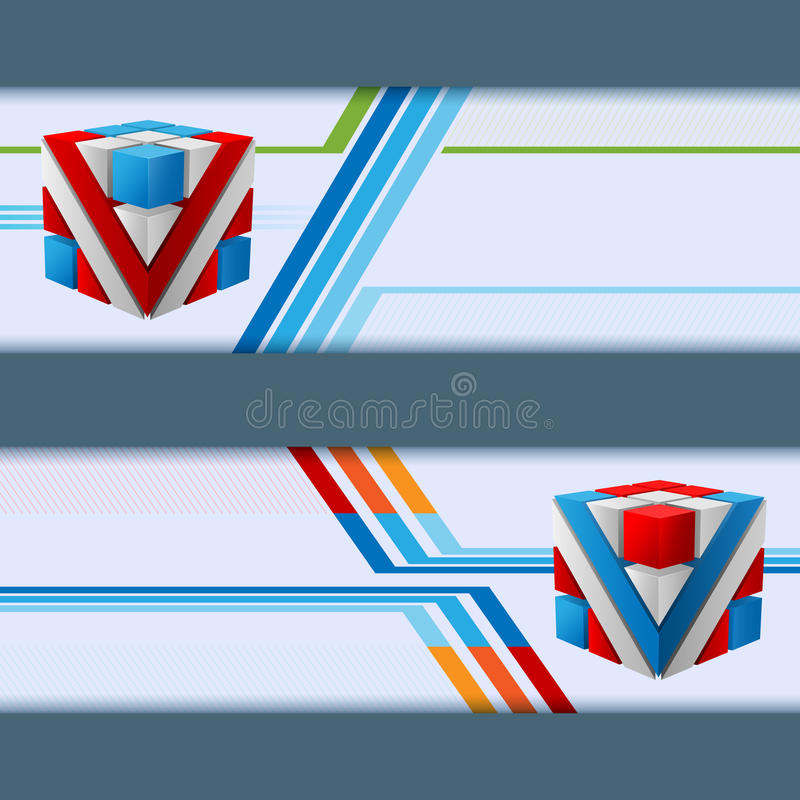 抽象设计网横幅,套与五颜六色的立方体的倒栽跳水 皇族释放例证