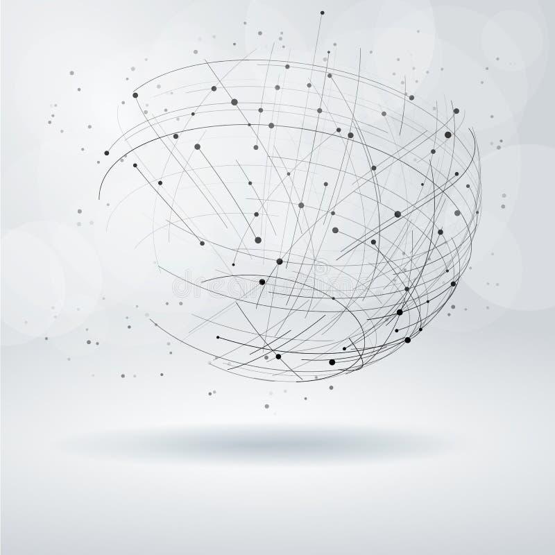 抽象设计要素 与线和小点的Wireframe对象 向量例证
