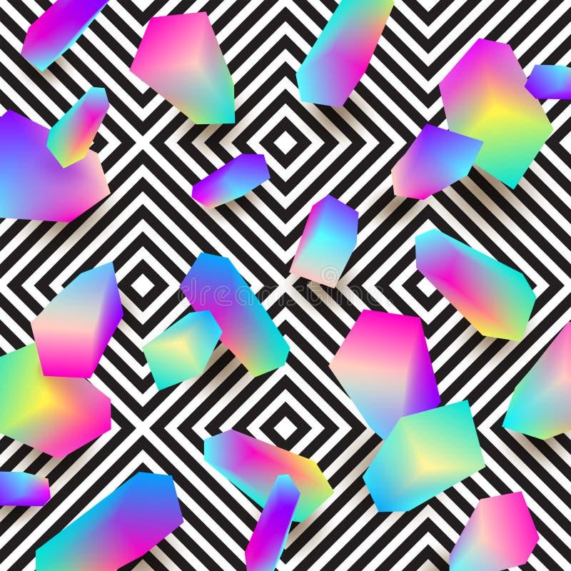 抽象设计 与多彩多姿的梯度的构成在形状onna黑白几何样式背景上雕琢平面 皇族释放例证