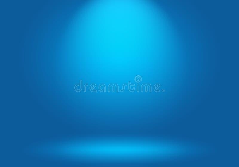 抽象豪华梯度蓝色背景 使深蓝光滑与黑小插图演播室横幅 向量例证