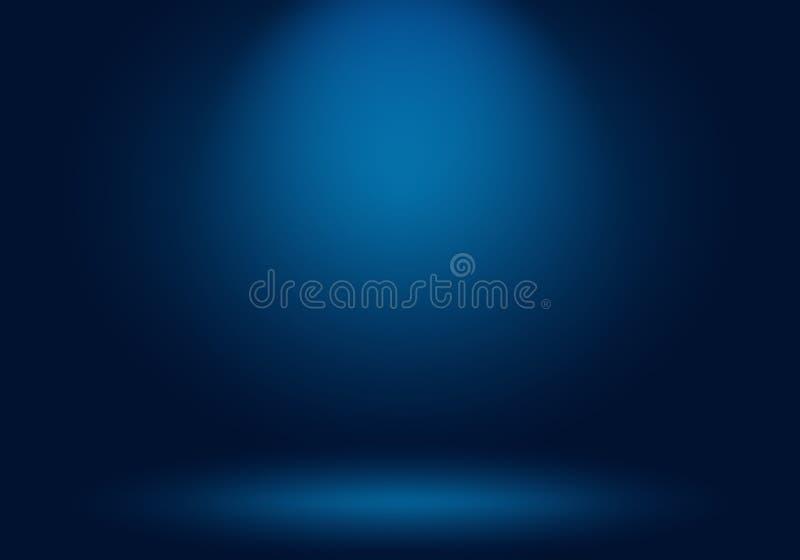 抽象豪华梯度蓝色背景 使深蓝光滑与黑小插图演播室横幅 皇族释放例证