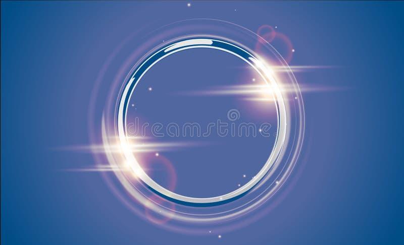 抽象豪华镀铬物金属圆环 传染媒介轻的圈子和火花光线影响 在透明的闪耀的发光的圆的框架 库存例证