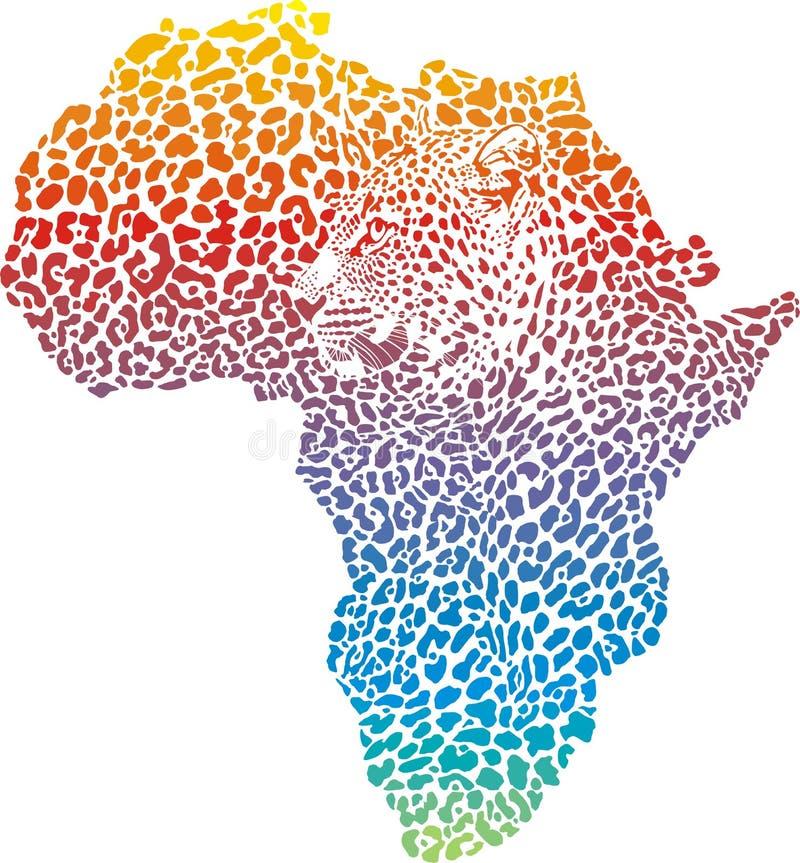 抽象豹子皮肤和头在剪影非洲 皇族释放例证