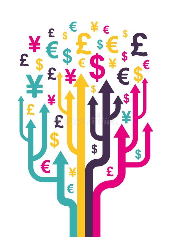 抽象货币结构树 皇族释放例证