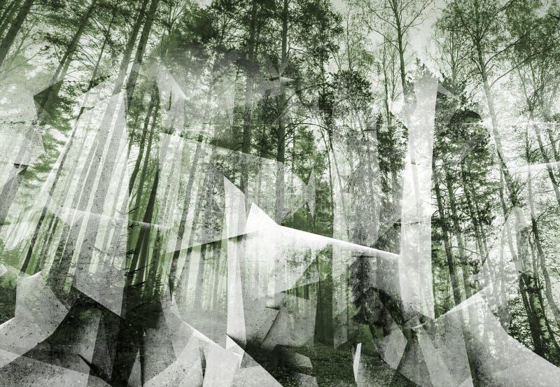 抽象超现实的森林背景 绿色定了调子拼贴画 向量例证