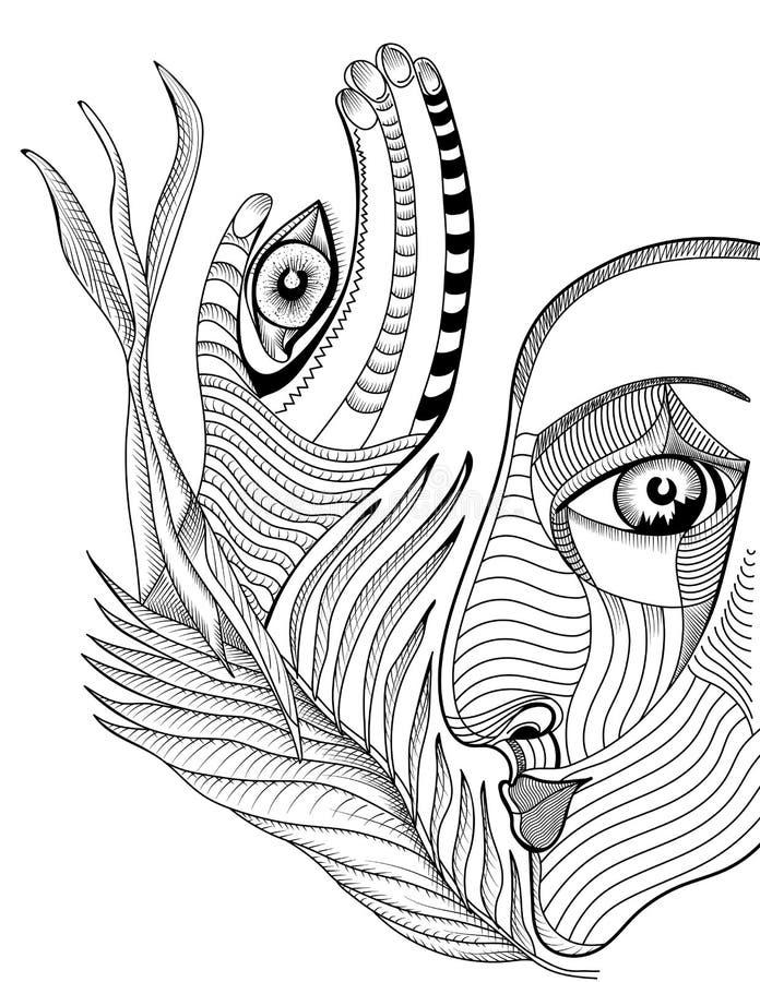 抽象超现实的面孔和手有mehndi纹身花刺的 向量例证