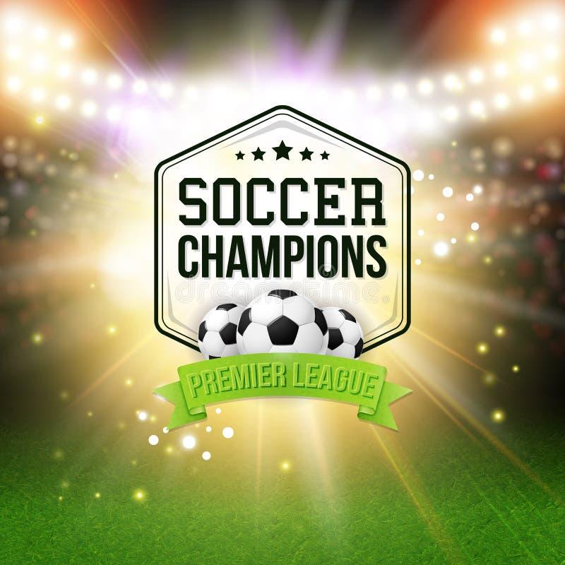 抽象足球橄榄球海报 与明亮的体育场背景 免版税库存图片