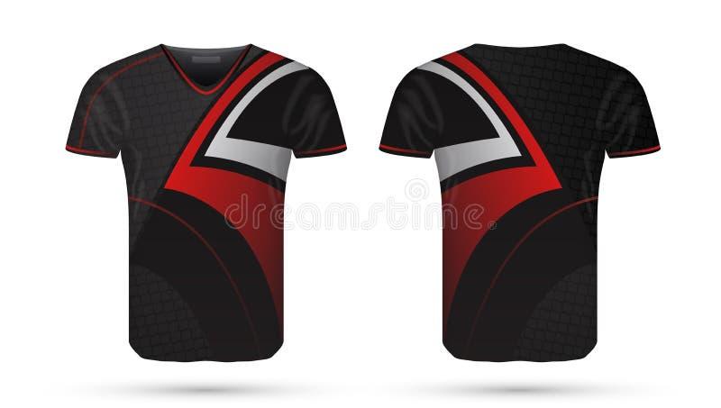 抽象足球红色和黑设计体育T恤杉模板 向量例证