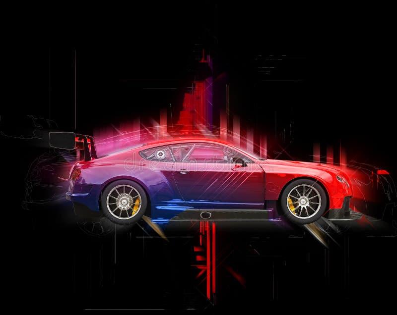 抽象跑车3D例证 库存例证