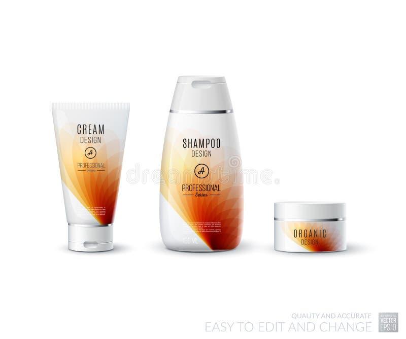 抽象身体关心化妆品牌概念 管奶油,香波p 向量例证