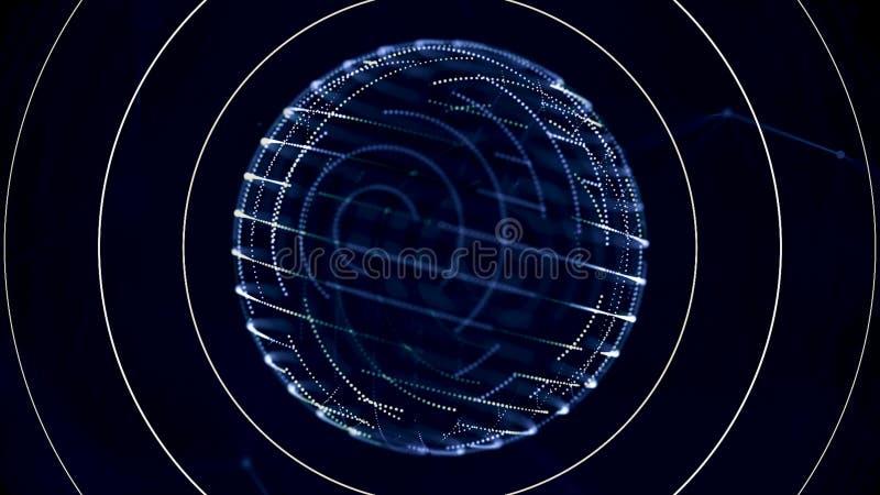 抽象转动的球形框架和搏动在黑背景、多孔的通信或者查寻概念的雷达波 库存例证