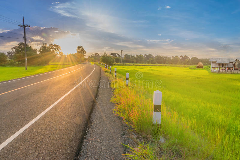 抽象软性被弄脏的和软的焦点剪影与路、水稻领域、美丽的天空和云彩的日出在Tha 免版税库存图片