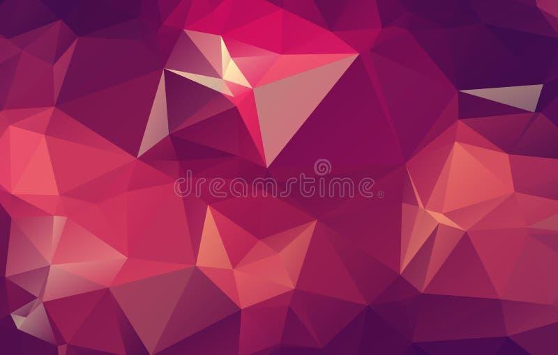 抽象轻的桃红色-黄色多角形例证,包括三角 您的事务的三角设计 几何后面 向量例证