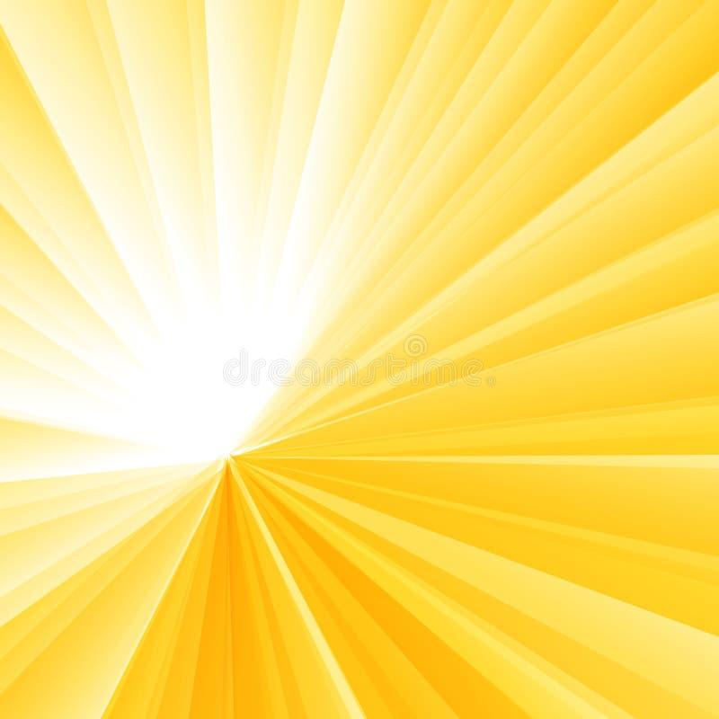 抽象轻的爆炸黄色辐形梯度背景 镶有钻石的旭日形首饰的光芒样式 向量例证