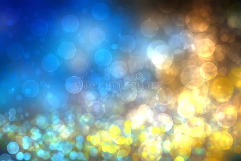抽象轻的金黄与闪烁闪闪发光的梯度蓝色欢乐背景纹理弄脏了圈子和bokeh光 免版税库存图片