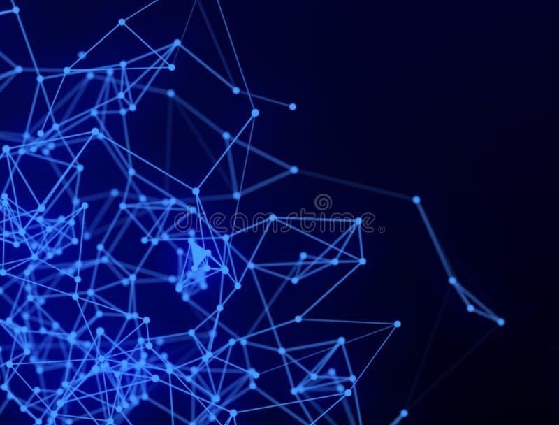抽象连接的小点和线 连接科学技术背景 库存例证