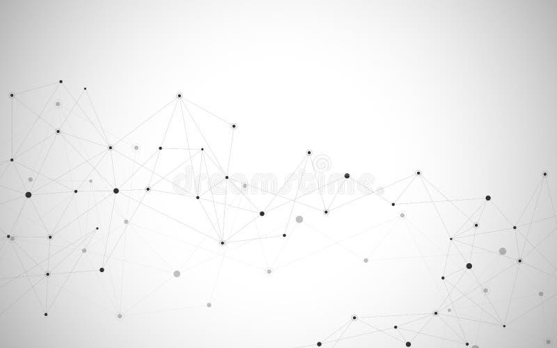 抽象连接的小点和线 连接科学技术背景 也corel凹道例证向量 库存例证