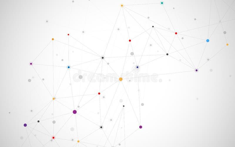 抽象连接的小点和线 连接科学技术背景 也corel凹道例证向量 皇族释放例证