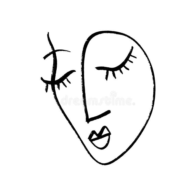 抽象连续的一线描,妇女面孔 也corel凹道例证向量 向量例证