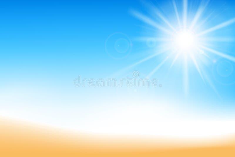 抽象迷离与阳光的蓝天和沙子背景 皇族释放例证