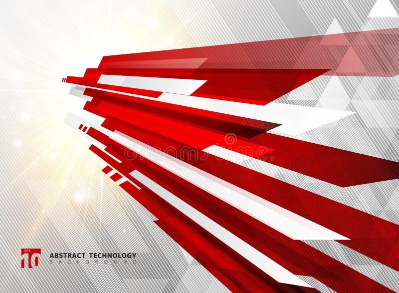 抽象透视技术几何红颜色发光的行动 库存例证