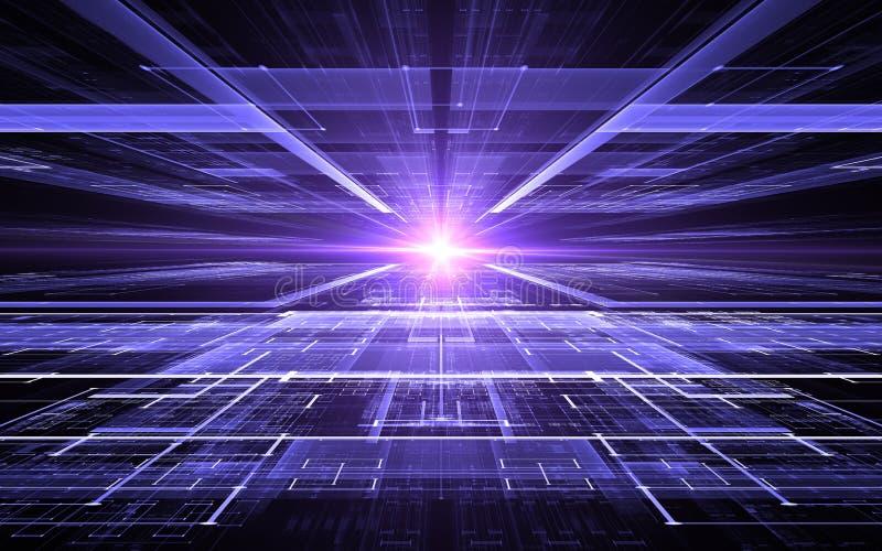 抽象透视未来派技术背景 时间异常,网际空间 皇族释放例证
