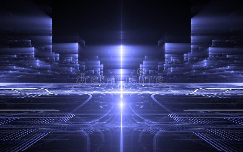 抽象透视未来派技术背景 时间异常,网际空间 库存例证