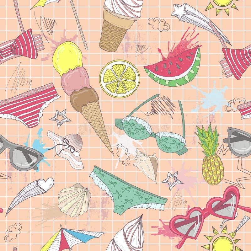 抽象逗人喜爱的模式夏天 与泳装的无缝的样式 向量例证