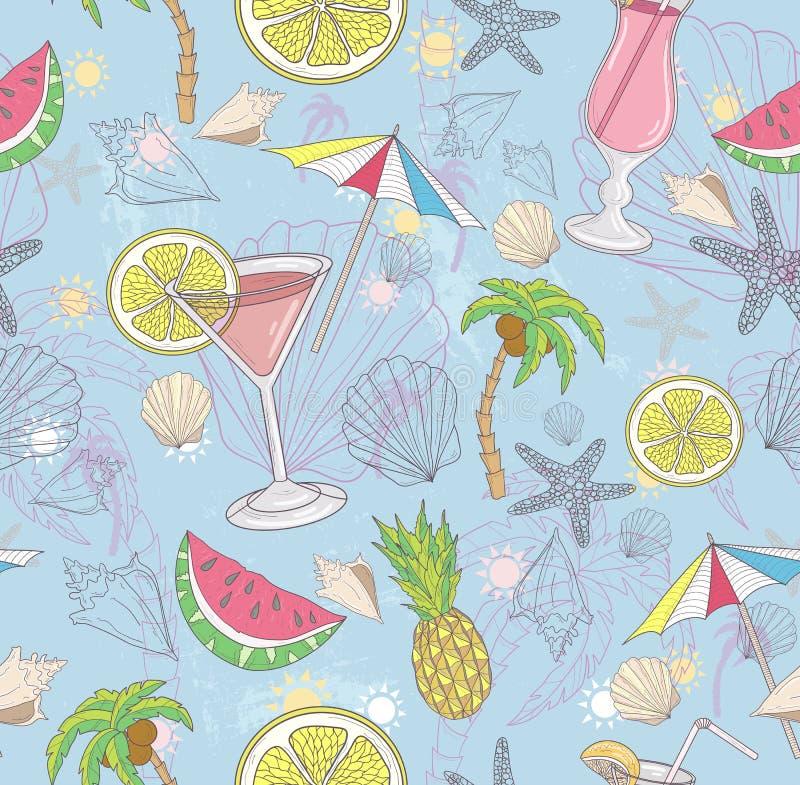 抽象逗人喜爱的模式夏天 与鸡尾酒的无缝的样式 向量例证