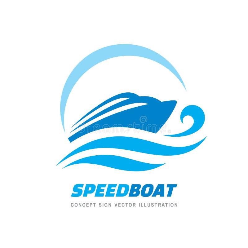 抽象速度小船和蓝色海波浪-传染媒介企业商标模板概念例证 海洋船图表创造性的标志 向量例证