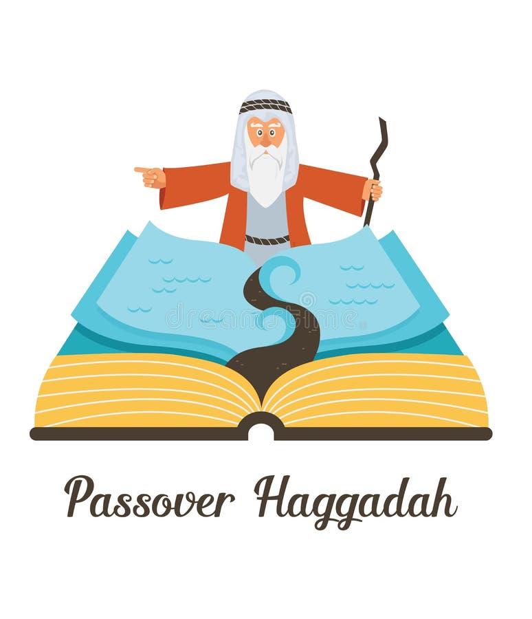 抽象逾越节故事哈加达书 Mozes预定让我的人民出去埃及 传染媒介和例证 库存例证