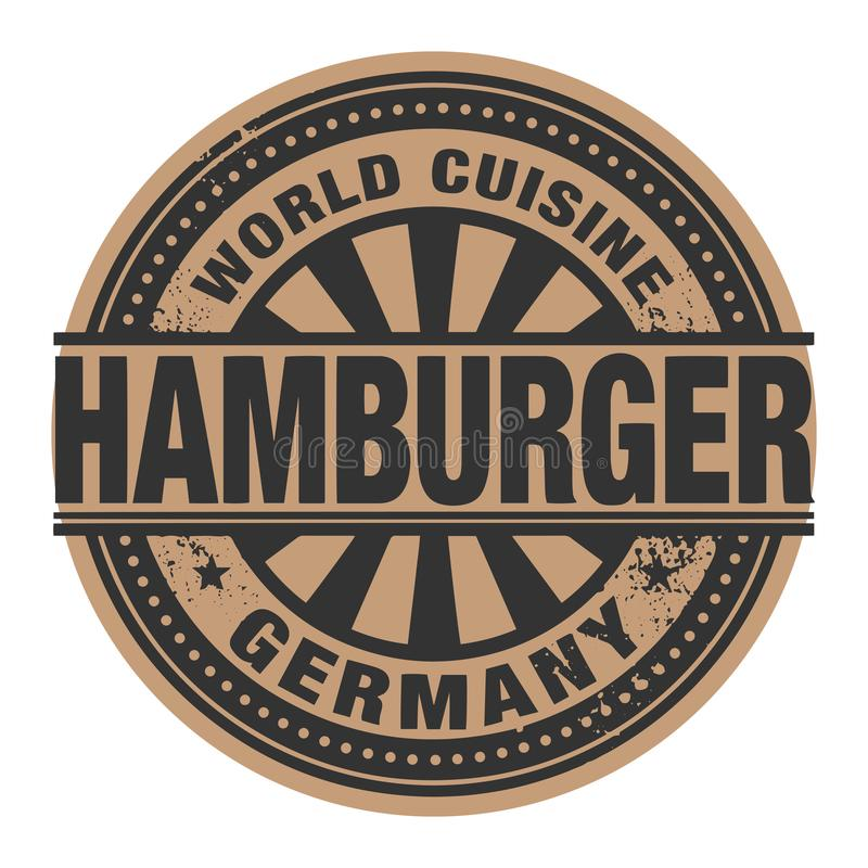 抽象邮票或标签与文本世界烹调,汉堡包w 皇族释放例证