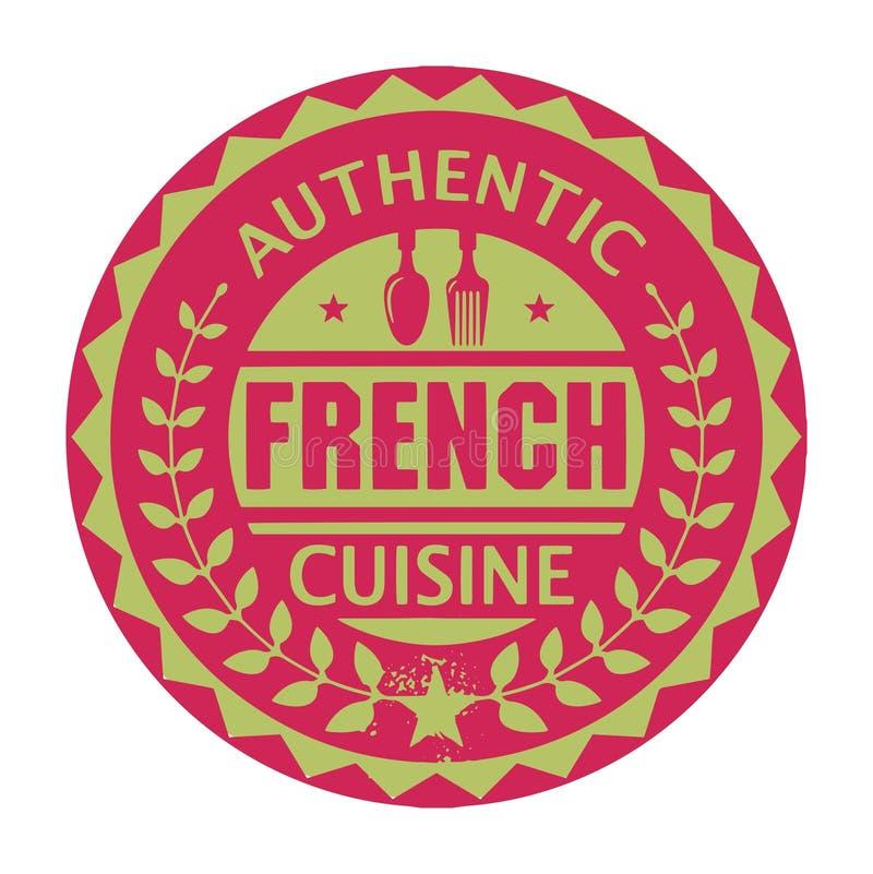 抽象邮票或标签与文本地道法国烹调 向量例证