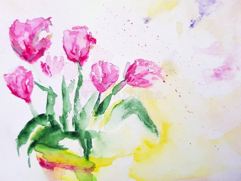 抽象郁金香开花绘的背景 r 库存例证