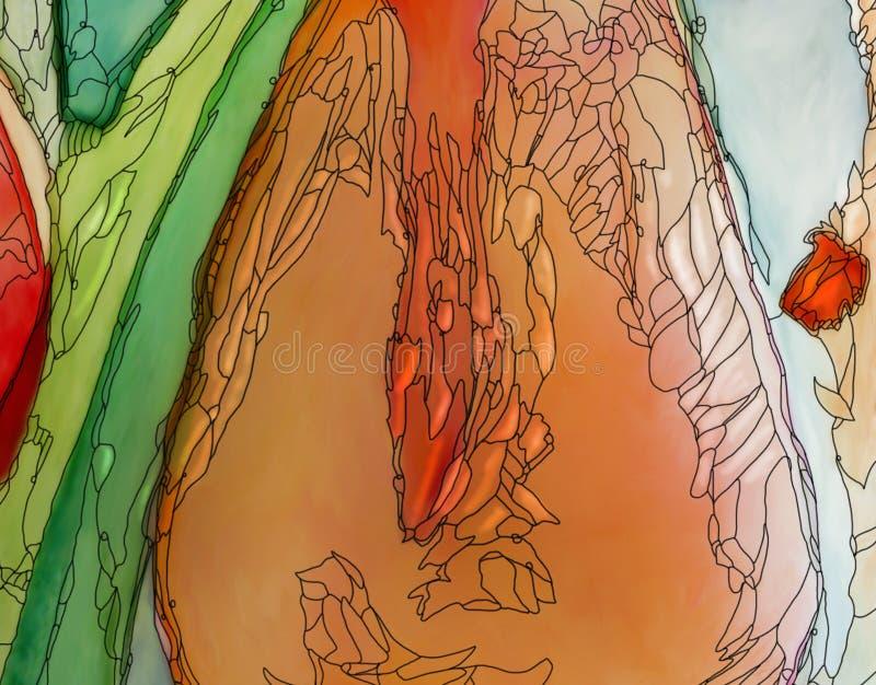 抽象郁金香艺术品红色橙色特写镜头艺术nouveau样式 皇族释放例证
