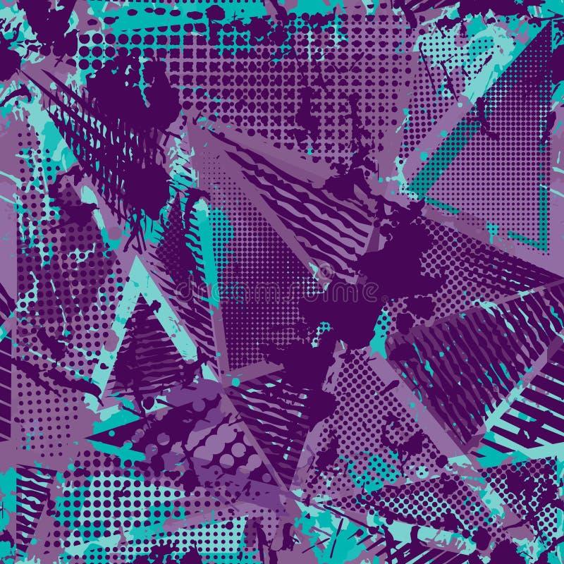 抽象都市无缝的样式 Grunge纹理背景 拖着脚走路的下落喷洒,三角,小点,霓虹喷漆 皇族释放例证