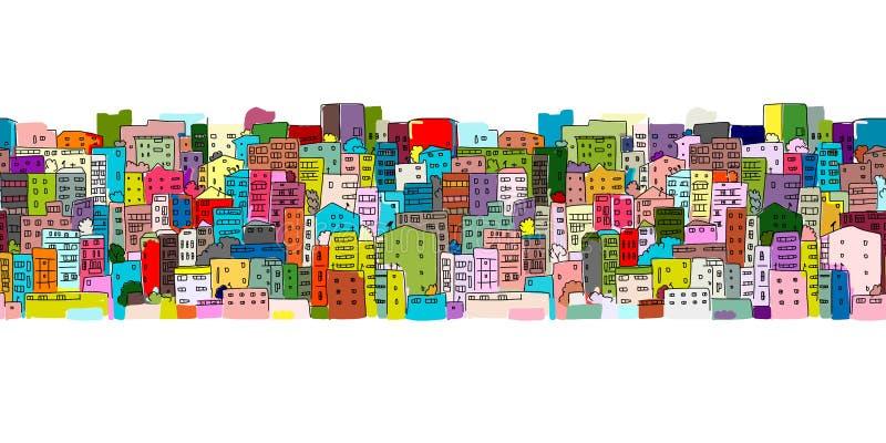 抽象都市风景背景,您的设计的无缝的样式 向量例证