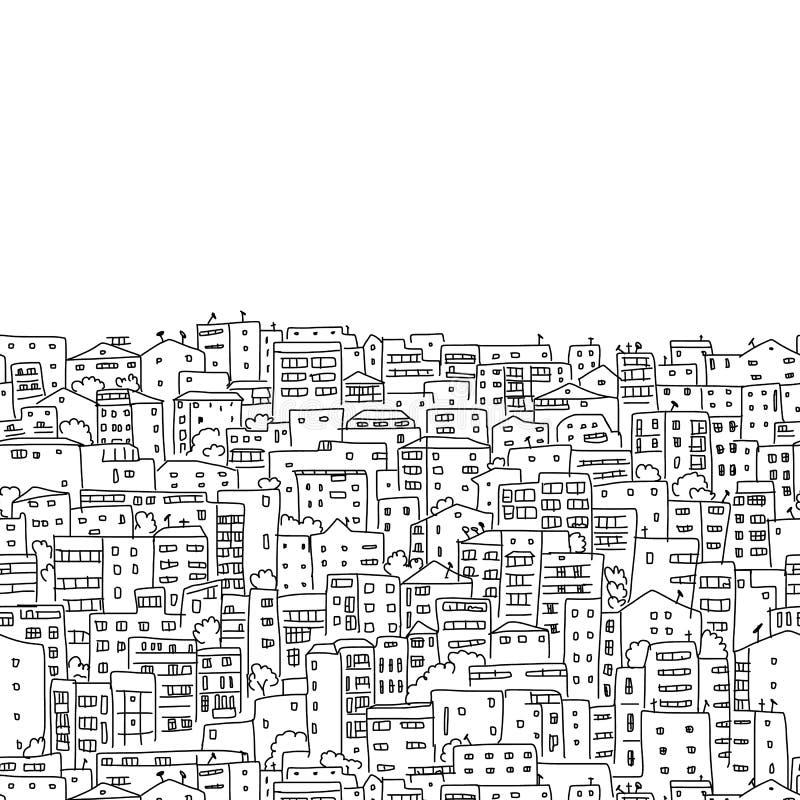 抽象都市风景背景,您的设计的无缝的样式 库存例证