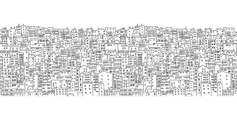 抽象都市风景背景,无缝的样式 库存例证