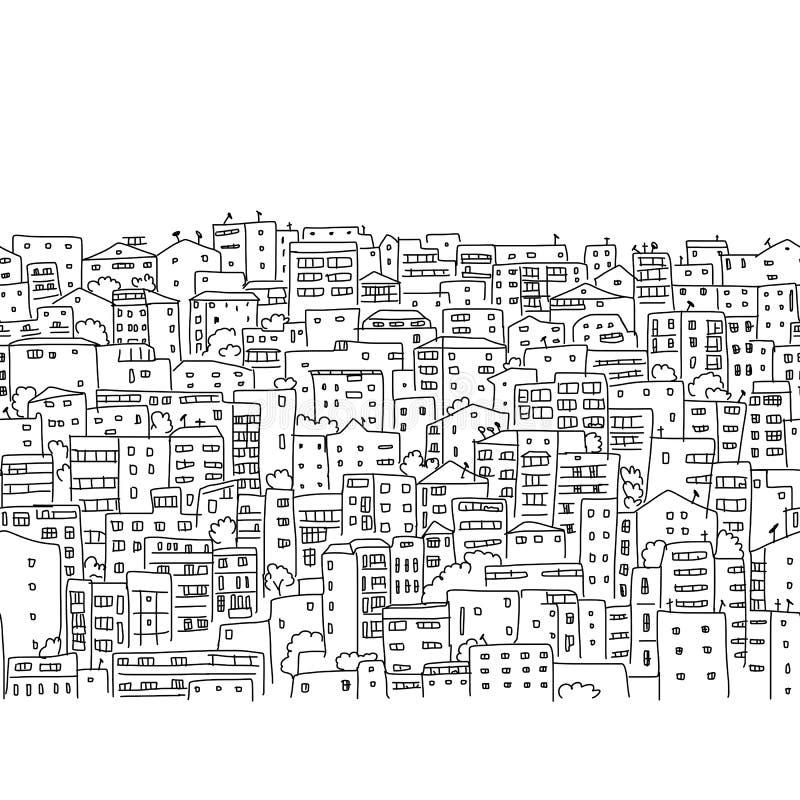 抽象都市风景背景,无缝的样式 向量例证