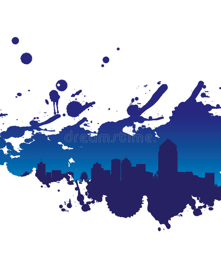 抽象都市风景飞溅 向量例证