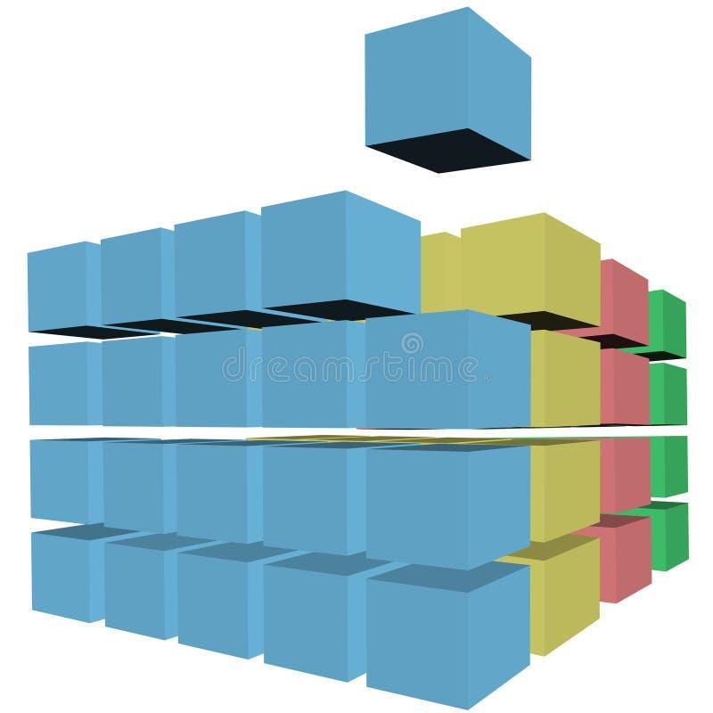 抽象配件箱纸盒多维数据集难题 向量例证