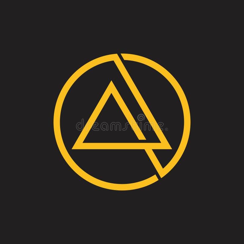 抽象重叠的线三角圈子商标 库存例证