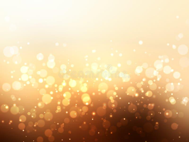 抽象金五颜六色的bokeh背景 欢乐 向量例证