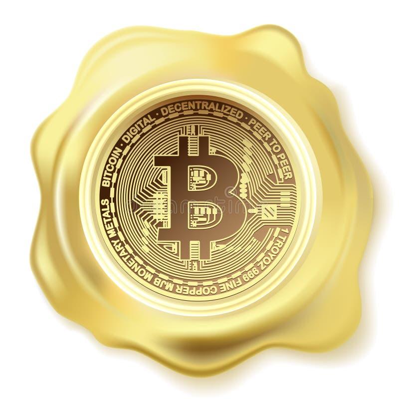 抽象金印章蜡Bitcoin 库存例证