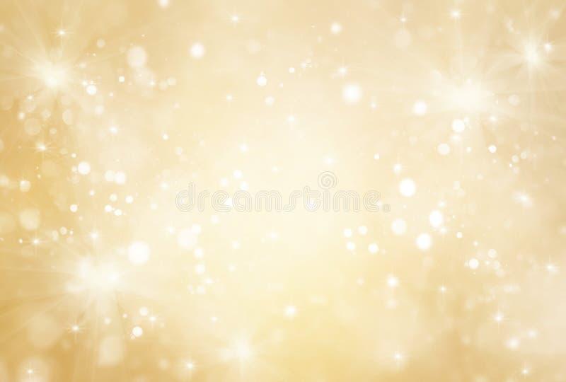抽象金子和明亮的闪烁新年背景的 免版税库存照片
