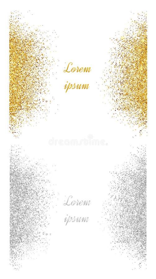 抽象金子和银色闪烁背景 明亮的闪闪发光fo 库存例证
