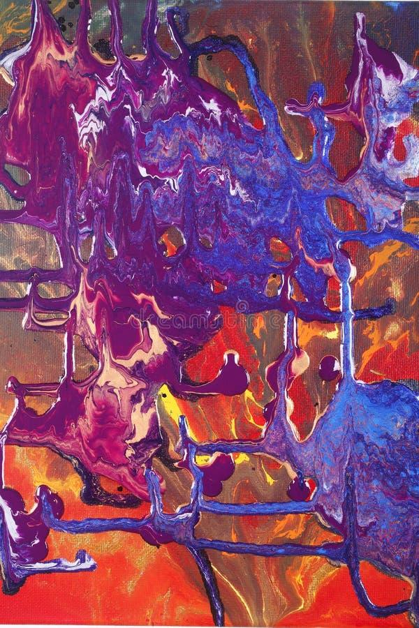 抽象金子绘红色 库存照片