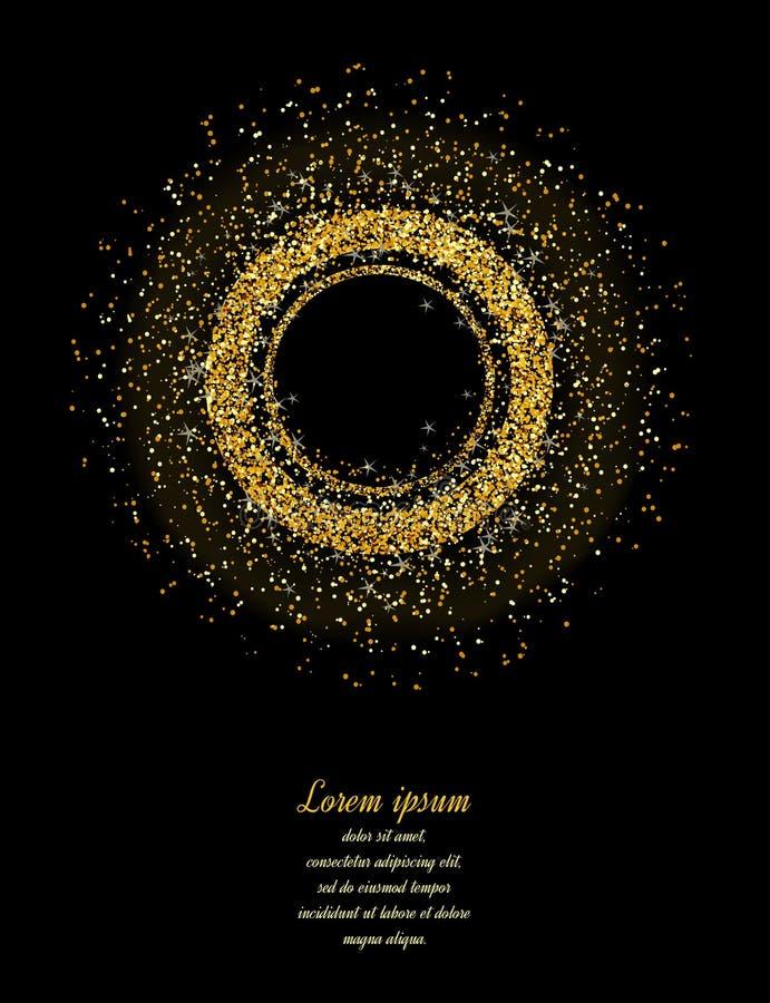 抽象金子闪烁背景 卡片的金背景 库存例证